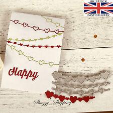 3 piece heart string banner set metal cutting die cutter UK seller Fast Posting