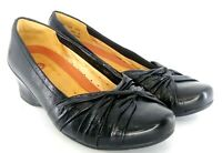 Clarks Unstructured Pump Women's 8.5 M Black Leather Pleated Slip On Wedge Heels