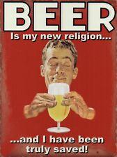 BIRRA-La mia RELIGIONE, veramente salvato, Retrò Divertente Pub, Medio Metallo/Acciaio Muro Firmare