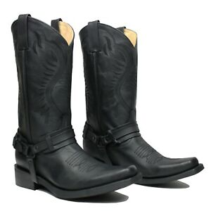 Men's Genuine Leather Cowboy Biker Boots Retro Riding Boots Botas Vaqueras