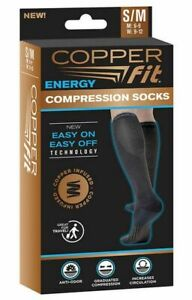 Copper Fit Unisex Easy-On and Easy-Off Knee High Compression Socks