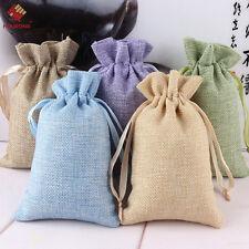 5Pcs Natural Burlap Bags Jute Hessian Drawstring Sack Small Wedding Favor Gift