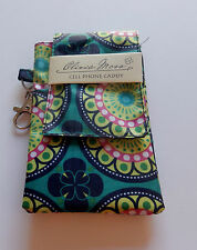 Cell phone Caddy Case- green navy pink  floral-trigger hook-separate pocket -vel