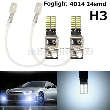 2x H3 6500K White 24-SMD 4014 LED High Power Bulb DRL Fog Light Driving Lamp 12V