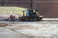 OO gauge abandoned fire damaged brake van, heavily rusted and weathered