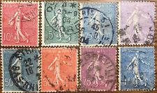 8 Sellos Francia usados desde 1903 Yvert 129, 130, 132, 197, 161, 199, 202 y 205