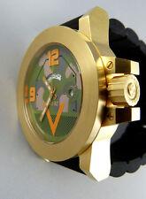 M1 ABRAMS TANK WATCH in Camo. Swiss GMT quartz & Sapphire Crystal 18K Gold Plate