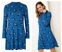 Brand New M*S Ladies Floral Blue Spotty Long Sleeve Day Tea Skater Swing Dress