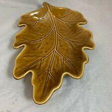 """LEAF serving Platter Pottery Barn Brown mustard color  13""""x 8"""""""