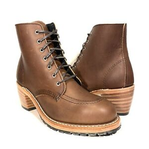 RED WING Womens Clara Heeled Combat Amber Harness Boots Brown (MSRP $350)