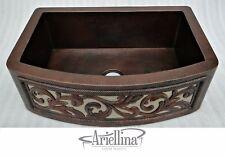 "36"" Ariellina 3D Farmhouse 14 Gauge Copper Kitchen Sink Lifetime Warranty AC1921"