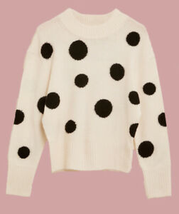 Ex M*S Holly Willoughby Polka Dot Crew Neck Relaxed Jumper All Sizes (W7.33)