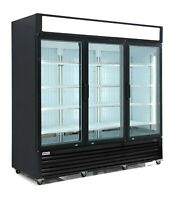 VORTEX Commercial 3 Glass Door Merchandiser Freezer - Black - 69 Cu. Ft.