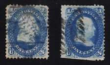 US #63 Used 1c Blue Franklin TWO STAMPS 1861  SCV $100.00