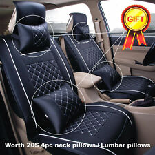 Durable Car 5-Seats SUV PU Leather Seat Cover Front+Rear w/ Neck Lumbar Pillow