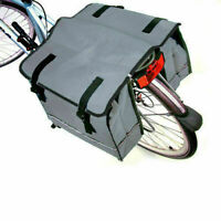GREY DOUBLE BICYCLE CYCLE PANNIER BAG REAR BIKE CARRIER WATER RESISTANT NYLON