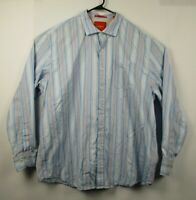 Mens Tommy Bahama 2XL Blue Striped  Cotton Long Sleeve Button Front Casual Shirt