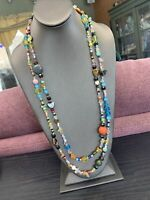 Vintage Boho Murillo Color Stone Glass Ceramic Beaded long necklace 60""