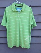QUICKSILVER SHIRT FOR MEN SIZE XL GREEN STRIPED POLO SHORT SLEEVE PRE-OWNED