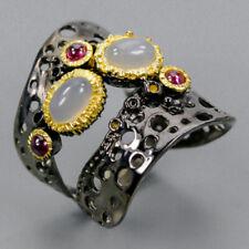 Fine Art SET Natural Moonstone 925 Sterling Silver Ring Size 6/R93015