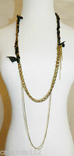 Candace Ang Necklace Gold Tone Chain Multi Media Black Ribbon Long Chains