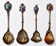 4 alte  Zuckerlöffel Löffel 800 + 835 Silber handgemalte Emaille Wappen Andenken
