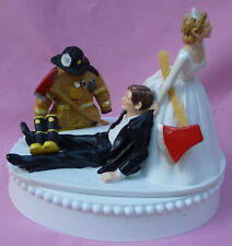 Wedding Cake Topper Fireman Fire Fighter Axe Themed Groom's Top Boots Humorous
