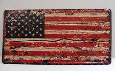 """PLAQUE TOLE 15 x 30 cm Décoration """"DRAPEAU AMERICAIN BOIS"""" Neuf emballage"""