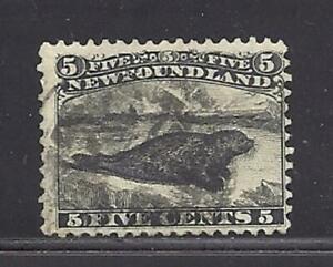 Newfoundland Scott 26 5c Black Seal FVF used Lite cancel. Cats $300 CAD. Look!