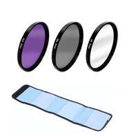 3 in 1 37 43 46 49 52 55 58 62 67 72 77 82mm Lens Filter Kit UV CPL FLD & Bag