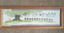 Space Gallery LTD Japanese Rabbit Bunny Tree Floral Calligraphy Signed Framed