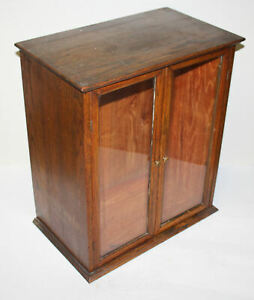 Antique Country Store Oak Counter Top Display Showcase with Silk Advertising