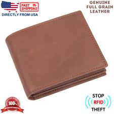 Mens RFID Blocking ID Window Zip Pocket Multi-Currency Full Grain Leather Wallet