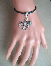 Tree of Life Charm and Tree Agate Bead Green Cord Bracelet in Gift Bag