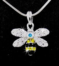 Stunning New Bee Austrian Crystal Silver Pendant Chain Necklace Honey Queen Bee