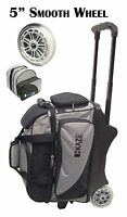 KAZE SPORTS Deluxe 2/3 Ball Roller Bowling Bag with Smooth PU Wheels+ADD-ON TOTE