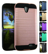 for Cricket ZTE Grand X 3 - Metallic Brushed Armor Shockproof TPU Cover Case