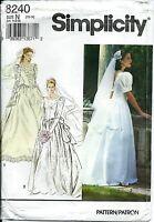 S 8240 sewing pattern ELEGANT Wedding DRESS Bridal GOWN sew sizes 10-12-14 UNCUT