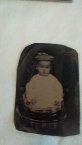 Antique Tinted Tintype Baby with Hidden Mother