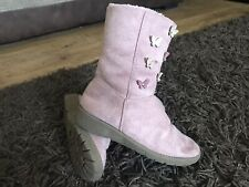 Girls Suede Boots Pink Flowers Zip Up UK Size 1 - Good Condition!!!
