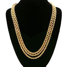 Men's 24K Gold Plated 3 Pcs 5mm Rope Chain Hip Hop Style Necklace Bundle Set