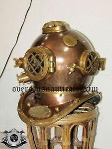 """Antique 18"""" Diving Scuba Divers Helmet Mark V Brass Iron Deep Sea U.S Navy Gifts"""