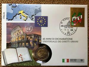 Numisbrief 2 Euro Italien 2008 - 60 Jahre Allgemeine Erklärung der Menschenrecht