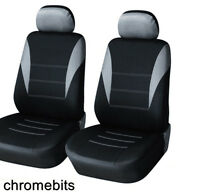 UNIVERSAL FRONT CAR SEAT HEADRESTS COVERS Black & Grey Washable & Airbag Safe