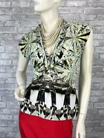 Roberto Cavalli New Black White Stretch Blouse Dress Top 6 US 42 IT M Runway