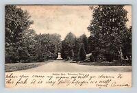 Columbus OH, Schiller Park, Statue, Scenic Gardens, Vintage Ohio Postcard A46