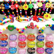 24pcs Kids Party Bag Fillers Children Wood Bracelets & FRIEND Rings Toys Favor