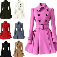 472ccc2c Womens Wool Blend Trench Coats Ladies Double-Breasted Belted Outwear  JacketsF275