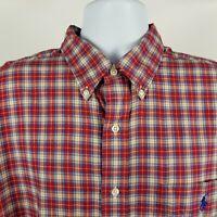 Ralph Lauren Blake Mens Red Plaid Check L/S Casual Dress Button Shirt Sz XL