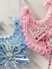 2pcs Bibs Baby Shower Favor Decorations PINK Party Table Girl